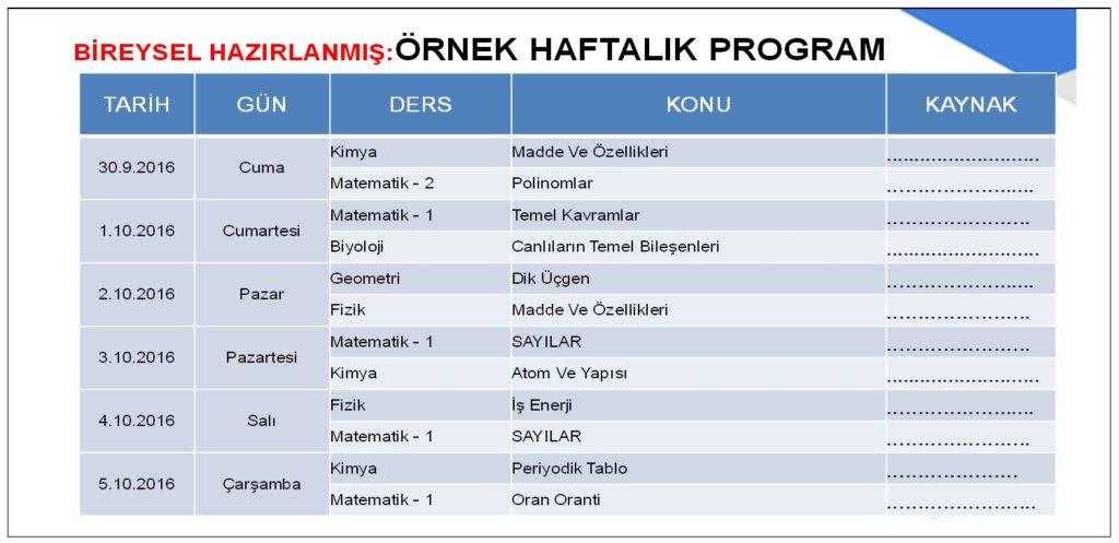 Örnek Haftalık Program
